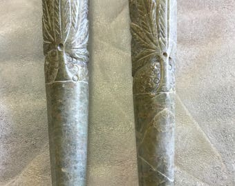 Green shaded hand carved Stone Chillum