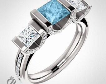 Platinum Princess Cut Three Stone Diamond & Aquamarine Engagement Ring Diamond Ring Wedding Ring Bridal Ring