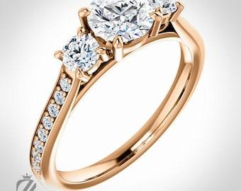 14K Rose Gold Three Stone Diamond Engagement Ring Diamond Ring Wedding Ring Bridal Ring
