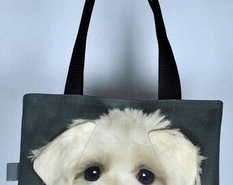Maltese bag, Maltese tote, Maltese portrait bag, Maltese shoulder bag, dog lover bag, dog print bag, dog portrait bag, Maltese gift