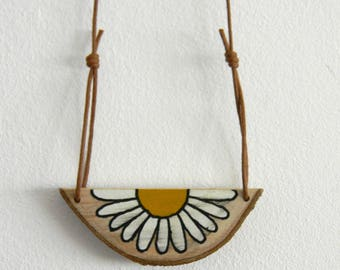 Hand painted wooden daisy pendant