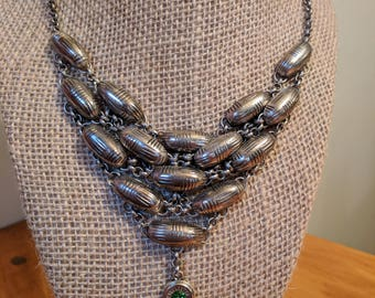 Chunky Silver Bullet Necklace with Fern Green Swarovski Crystal