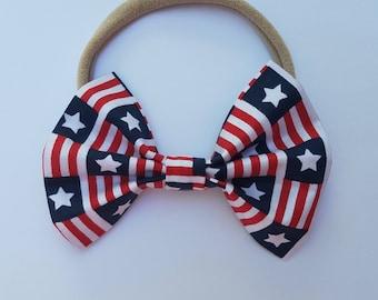 Nylon Bow Headband, Fabric Bow, Stars and Stripes