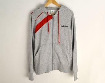 Adidas sweatshirt Adidas jacket Vintage jumper Adidas sweatshirt Adidas hoodie Gray sweatshirt jacket with hood Vintage hoodie Jacket men