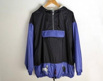Vintage Jacket Men L 90s jacket Hoodie jacket Vintage anorak with warm lining Vintage coat men Dog prints 90s anorak Warm jacket men large