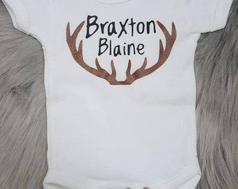 Personalized Onesie with Faux Leather Antlers
