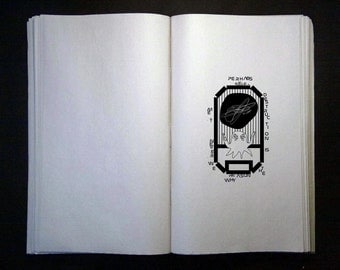 EX LIBRIS stamp 02 /... gum rubber mounted on foam & varnished cement - personalised - graphic art - illustration - alien