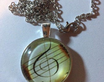 Music Note Photo Cabochon Glass Tibet Silver Chain Pendant Necklace - C80