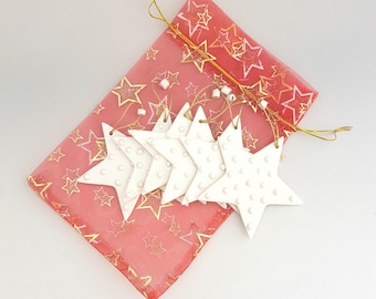 Christmas set of 6 star tree decorations. Christmas gift ideas. Creations very limited. Handmade, made in France.