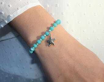 Teal and Light Blue Starfish Bracelet