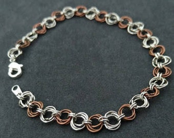 Silver and Bronze Chainmaille Bracelet