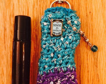 DoTerra Oil Blend Of Your Choice in Custom Crocheted Carrier With Clip - Sense and Sensibility - Book Lovers