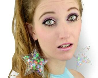 Liquid Glitter Earring - Stars -  Transparent Rainbow