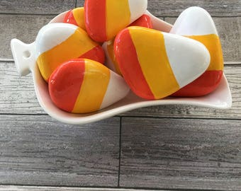 Halloween Candy Corn Hand Painted Rock Set of 7 in Serving Dish