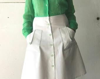 1970's Women's Green & White Dress | Vintage Dress | 70's Dress | Women's Dress