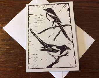 Two for joy - 2 magpies lino print greetings card