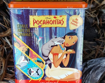 Vintage Pocahontas Bandage Tin by Kid Care Bandage box 1990's Meeko raccoon Retro Disney Collectible