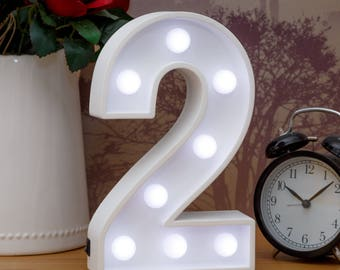 "Light Up Number 2 (Two) - 23cm (9"") high sign, Illuminated White Wooden Marquee Letters with LED Lights Wall Hanging or Freestanding"