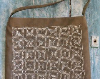 Hand embroidered bag with Sashiko embroidery