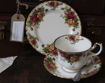 Royal Albert Old Country Roses Tea Cup, Saucer and Tea Plate Trio