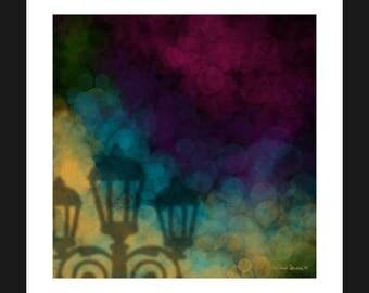 Abstract Bokeh Lamp Post