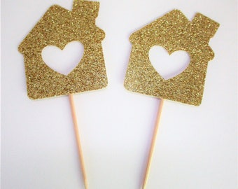 12 CT Housewarming Cupcake Toppers-New Home- Housewarming Celebration- Housewarming Party Decor