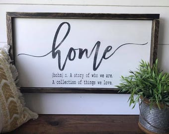 Home - A story of who we are. A collection of things we love. ~ Wooden Sign