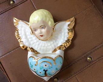 Vintage Ceramic Angel Wall Vase/Pocket