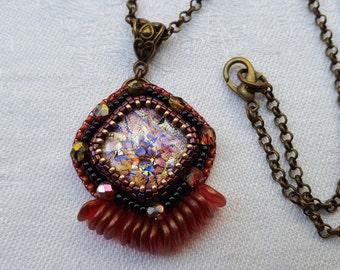 Retro, original, colorful and bright pendant beadwork, purple and Burgundy