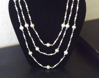Necklace wedding 3 row Pearl