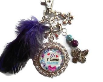 "Bag charm, Keychain / Grandma / ""I love Grandma"" /les wonders faby/gift"