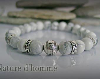 Bracelet sleek and trendy white howlite stone Ref: BN-250