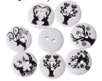 12 buttons 15 mm wooden deer