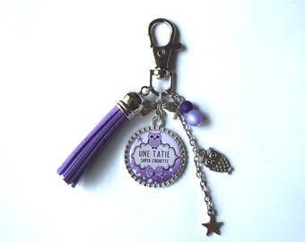 """Door keys, jewelry bag AUNTIE """"OWL great Auntie"""" / personalized/gift"""