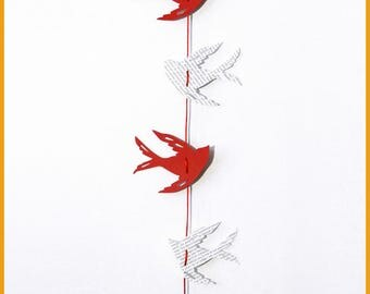 Red bird Garland and recycled book to hang