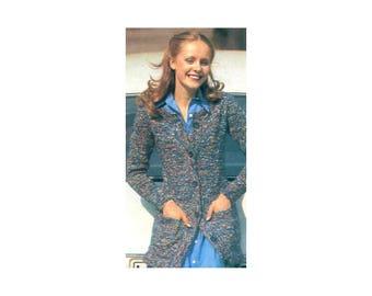 Long Cardigan Jacket Knitting Pattern - with front pockets, long sleeves, variegated yarn