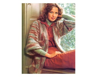Mohair Jacket & Stole Knitting Pattern - Wide sleeve oversize cardigan with square shawl