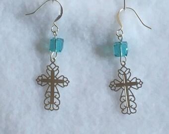 SP Pierced Earrings - Fancy Lazer Lace Cross w Light Turquoise Swarovski Cube Crystal