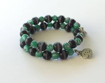 memory wire beaded wrap bracelet with charms