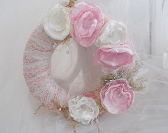 shabby chic VINTAGE ivory rose Crown