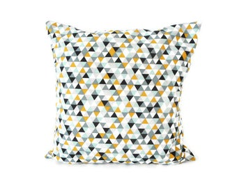 Cushion cover 35 x 35 cm - geometric triangles - yellow blue black grey fabric - Scandinavian and multicolor graphic decoration
