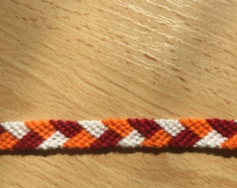 Woven Friendship Bracelet red orange and white