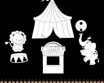 Cuts scrapbooking scrap big top tent circus flag lion elephant balloon ticket cut paper embellishment die cut creation