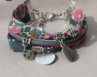 "Liberty bracelet personalized with names ""Oh Mine"" Betsy Ann Peony"