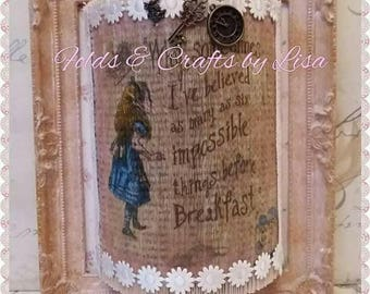 Vintage Alice in Wonderland book art frames.Decorated pink and gold frames.Shabby chic.