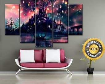 Rapunzel castle, Rapunzel castle art, Disney castle canvas, Disney canvas, Rapunzel castle print, Rapunzel, Rapunzel wall art, Disney Art