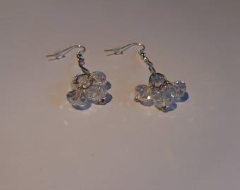 Earrings dangling silver metal and beads