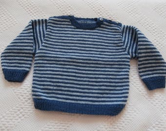 Striped dark blue and light blue sweater 12 to 18 months