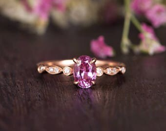 Rose Gold Engagement Ring Oval Cut Pink Sapphire Stacking Eternity Antique Art Deco Retro Solitaire Anniversary Women Promise Birthstone