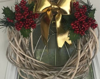White wooden wreath with berries and golden bow!